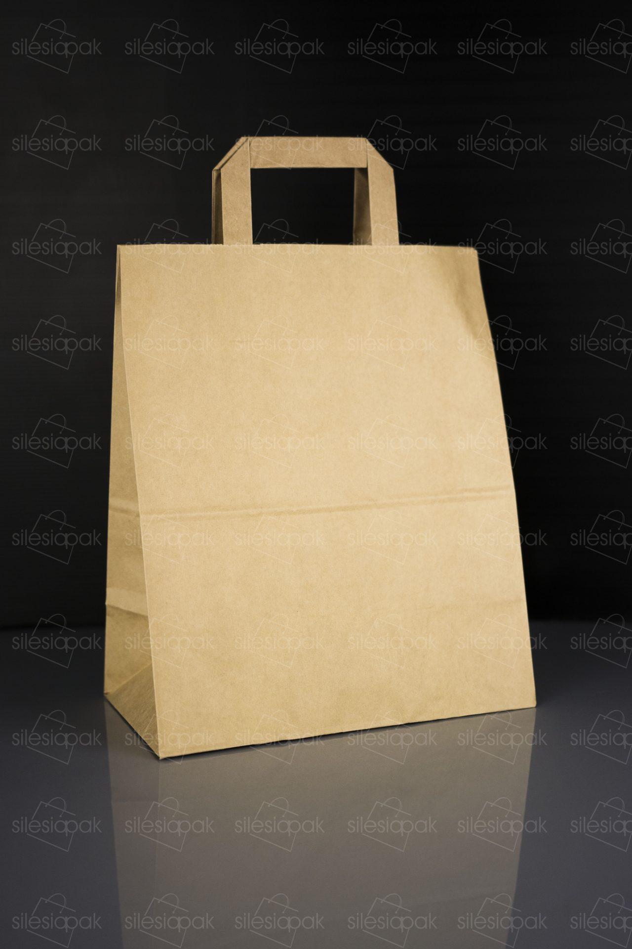 Cateringowa torba papierowa brązowa z uchwytem płaskim - A2