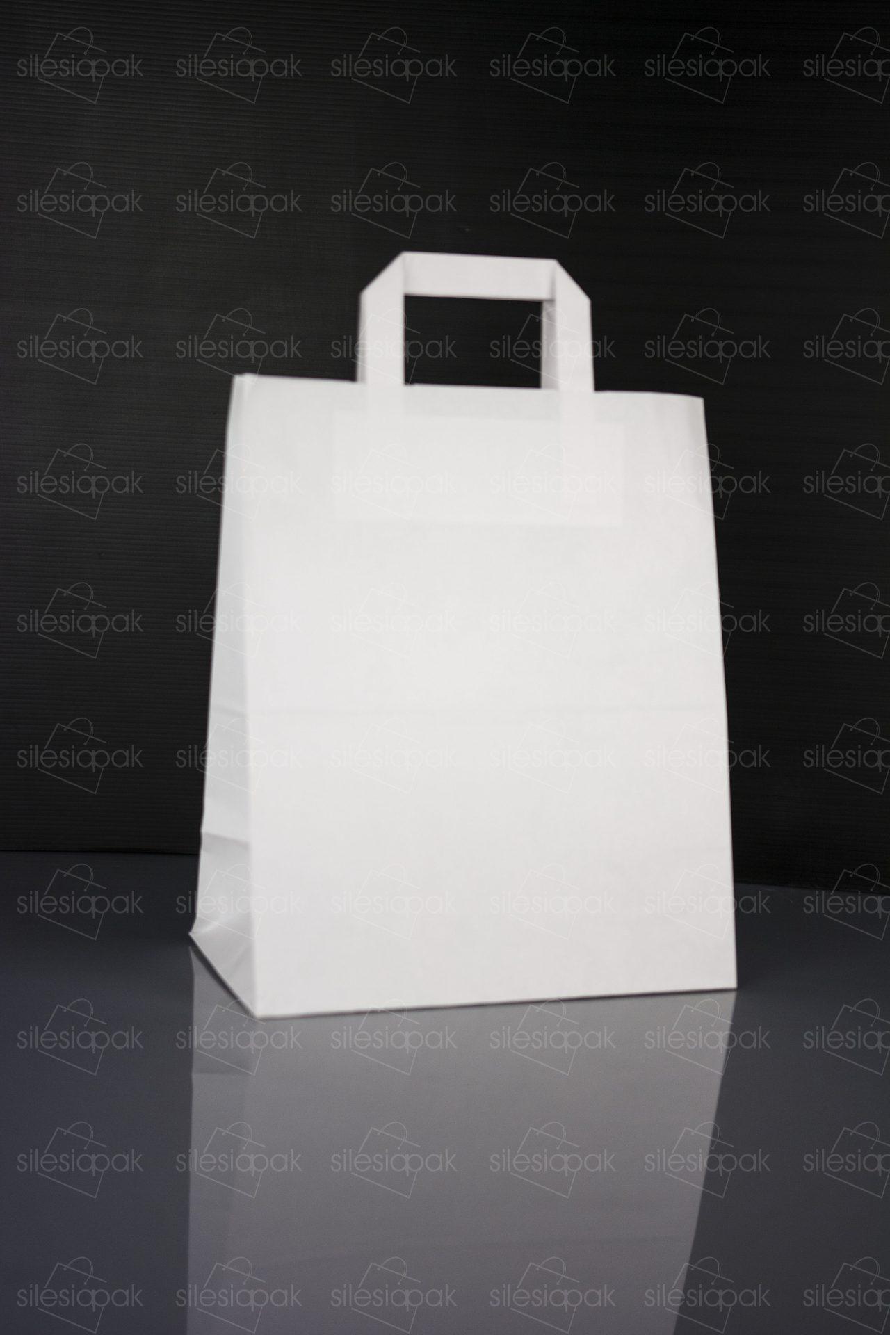 Ekologiczna biała torba papierowa B2 z płaskim uchwytem