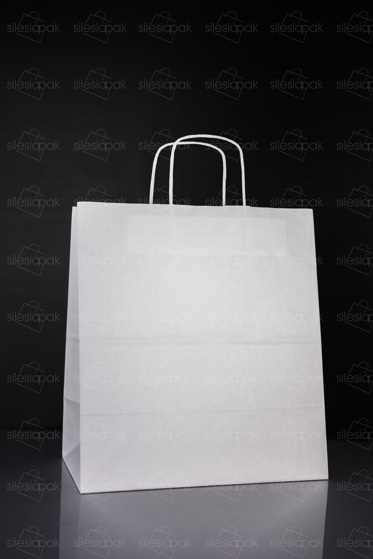 Papierowe torby ekologiczne białe z uchwytem skręcanym - K7