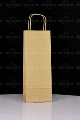 Torba papierowa Ekologiczna na butelki z uchwytem skręcanym - W2