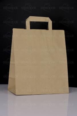 Papierowa torba reklamowa brązowa z uchwytem płaskim - model K3