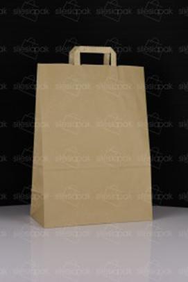 Ekologiczna torba papierowa brązowa z uchwytem płaskim - model A5