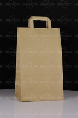 Cateringowa torba z uchwytem płaskim - biała papierowa a4