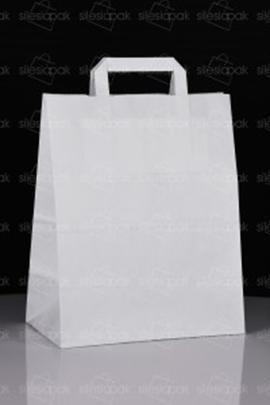 Biała cateringowa torba z papieru z uchwytem płaskim B3