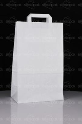 Torba papierowa z płaskim uchwytem - cateringowa biała - B4