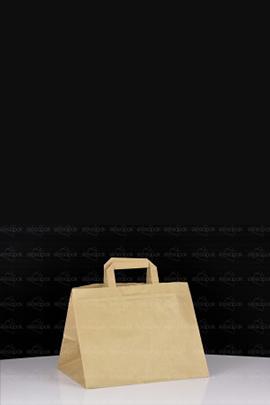 Brązowa torba cateringowa z dużym dnem - Uchwyt płaski - K1