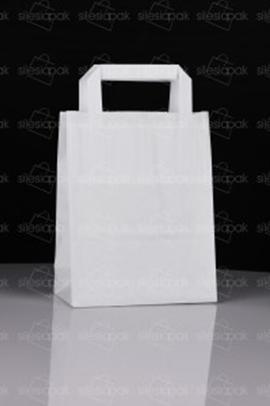 Biała torba papierowa ekologiczna B1 z płaskim uchwytem