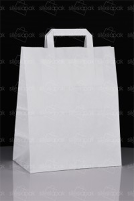 Reklamowa biała torba papierowa B2 z uchwytem płaskim