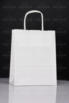 Torby D1 papierowe białe z uchwytem skręcanym