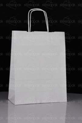 Torby D3 papierowe białe z skręcanym uchwytem